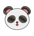 cute scribble panda bear face vector image vector image