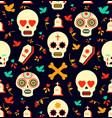 day dead sugar skull icon seamless pattern vector image