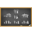 doodle happy family on blackboard vector image vector image