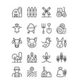Farming icons black and white linear set