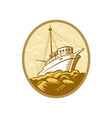 Fishing boat viewed from low angle vector image vector image