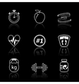 Fitness sport icons set vector image vector image