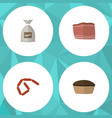 flat icon food set of tart sack bratwurst and vector image vector image