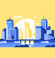 flat modern city landscape with bridge river vector image vector image