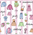 girls clothes and lettering doodle srtiped vector image