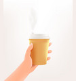 human hand holding a coffee mockup on white vector image