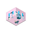 isometric hospital interior with furniture vector image vector image