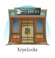 key shop or locks store building for keylock vector image vector image