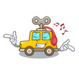 listening music cartoon clockwork toy car for gift vector image