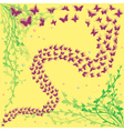 Lot of butterflies on a floral background vector image