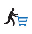 man pushing shopping cart vector image vector image