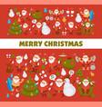 merry christmas santa cartoon snowman and dog vector image vector image