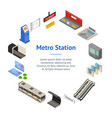 metro station 3d banner card circle isometric view vector image vector image