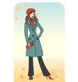 Nice woman in a warm coat vector image vector image