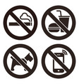 no smoking no food or drink no dogs and no cell vector image vector image