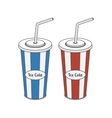 Red and blue srtiped plastic Glass with Straw vector image