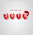 red balloons concept design happy new year 2019 vector image