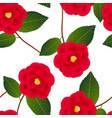 red camellia flower on white background vector image vector image