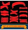 Set of bent ribbons with seam vector image vector image