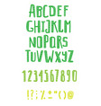 set of hand drawn abc letters and figurestextured vector image vector image