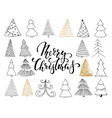 set of hand drawn sketch christmas tree design vector image