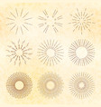 set retro hand-drawn starburst and sunrays vector image