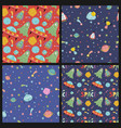 space travel cartoon seamless patterns set vector image vector image