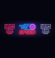 speed night neon logo racing neon sign vector image vector image
