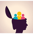 thinking concept-Human head with people icon vector image vector image