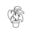 tropical leaves in pot plants line style icon vector image vector image