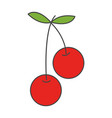 Two cherries on steam with leaf flat icon vector image