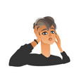 unhappy woman squeezing head with hands in flat vector image vector image