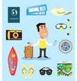 Vacation or business traveler character set vector image