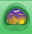 welcome to chichen itza travel concept emblem vector image vector image