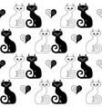 White cat and black cat vector image vector image