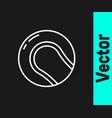 white line baseball ball icon isolated on black vector image vector image