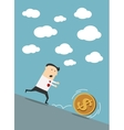 Businessman chasing dollar coin in cartoon style vector image