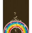 wooden background with rainbow and flowers vector image