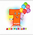 7 anniversary funny digits vector image vector image