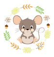 autumn card with cute mouse vector image vector image