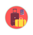 baggage and passport icon vector image vector image