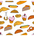 bakery assortment pattern vector image vector image