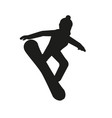 black silhouette of snowboarder vector image vector image