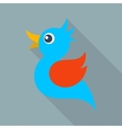 blue bird icon long shadow vector image vector image