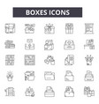 boxes line icons for web and mobile design vector image