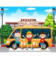 Boys standing by the school van vector image vector image