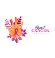 breast cancer care hand concept for women help vector image vector image