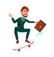 businessman with briefcase rushes standing on vector image vector image