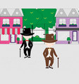 cartoon little boys wearing suit and top hats on vector image
