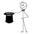 cartoon magician holding big black top hat vector image vector image